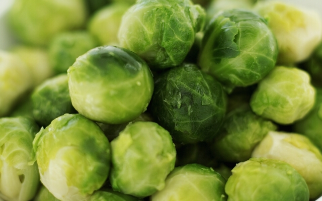 close-up of a bowl of Brussels sprouts