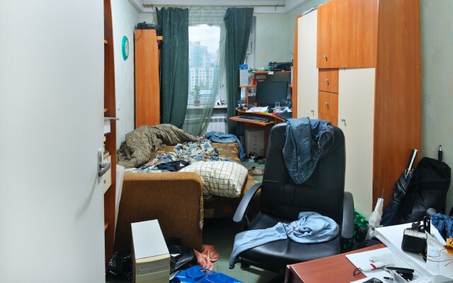 view of a messy room